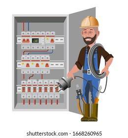 Electrician and electric switchboard. Distribution board. Electrical power switch panel. Electricity equipment. Vector illustration isolated on white background