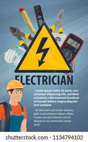 Electrician with electrical equipment and work tool banner. Electrician or lineman in hard hat with wire, screwdriver and light bulb, pliers socket and warning sign, multimeter and voltage tester