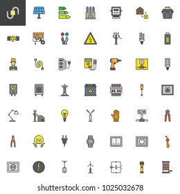 Electrician elements filled outline icons set, line vector symbol collection, linear colorful pictogram pack. Signs, logo illustration, Set includes icons as high voltage, electric meter, power supply
