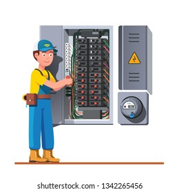 Electrician engineer man working with breaker & fuse box. Electrical service panel cabinet electric meter. Switch board wiring maintenance job. Flat vector technician character illustration