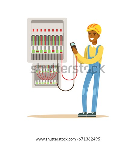 electrician engineer measuring voltage output fuse stock vectorelectrician engineer measuring the voltage output in fuse box, electric man performing electrical works vector