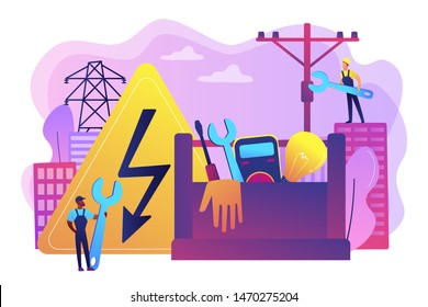 Electrician engineer, technician with wrench. Electrician services, electrical service professionals, best electricians in your area concept. Bright vibrant violet vector isolated illustration