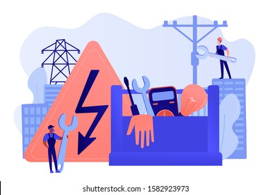 Electrician engineer, technician with wrench. Electrician services, electrical service professionals, best electricians in your area concept. Pinkish coral bluevector isolated illustration