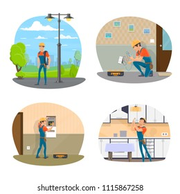 Electrician with equipment icon set for electrical service design. Professional electrician changing light bulb and repairing socket, electrical engineer checking electrical switchboard and light pole