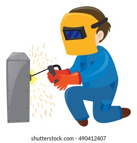 Electrician fixing the metal box illustration
