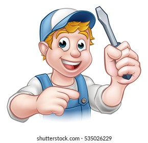 An electrician handyman cartoon character holding a screwdriver and pointing
