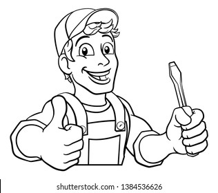 Electrician handyman man handy holding electricians screwdriver tool cartoon construction mascot. Peeking over a sign and giving a thumbs up.