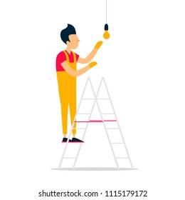 Electrician hangs a light bulb, repairs, construction. Flat style vector illustration