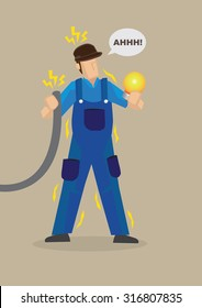 Electrician holding wire and light bulb getting electrocuted. Vector cartoon character on work safety concept isolated on plain background.