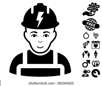Electrician icon with bonus love graphic icons. Vector illustration style is flat iconic black symbols on white background.