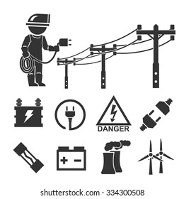 electrician icon set