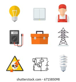 Electrician industry icon cartoon set. Tradesperson, electrical wiring of buildings, systems and equipment. Vector flat style illustration isolated on white background
