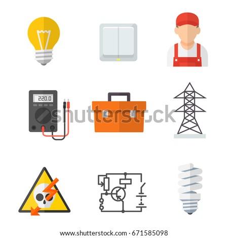 Tremendous Electrician Industry Icon Cartoon Set Tradesperson Stock Vector Wiring 101 Akebretraxxcnl