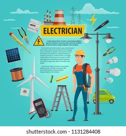 Electrician man and electricity repair work tools poster. Vector electrician profession and power repair equipment of electricity socket, electrical wires in socket or street light switcher and ladder