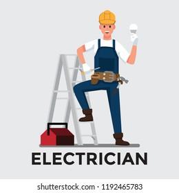electrician man  ,Vector illustration cartoon character.