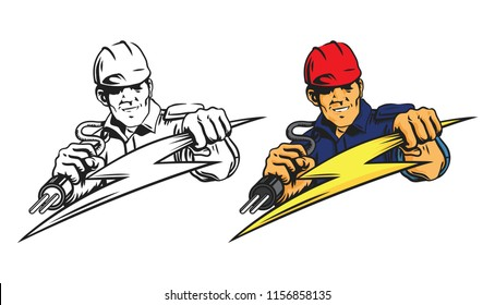 electrician man,logo vector