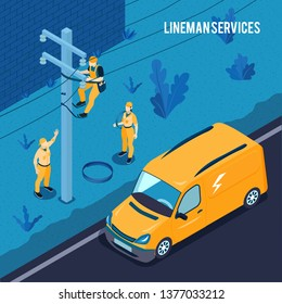 Electrician power line technicians team outdoor work with lineman high voltage  transmission cables maintenance service vector illustration