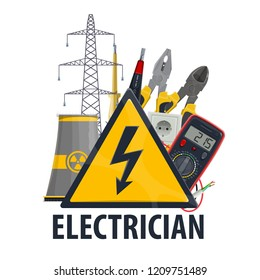 Electrician professional equipment and tools, vector nuclear power plant, ammeter and lightbulb lamp with plug socket, electric wire and cables, power line