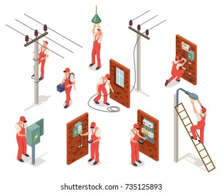 Electrician in red uniform works with wires, electrical appliance and transformer isolated cartoon isometric vector illustrations set on white background.