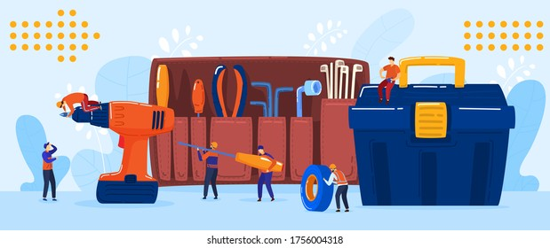 Electrician and repairman team concept, tiny people cartoon characters, vector illustration. Toolkit with electric screwdriver, maintenance and repair service teamwork. Electric worker man in uniform
