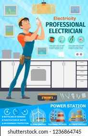Electrician service, electrical repair works. Vector man in uniform change light bulb in kitchen room with tools as screwdriver, voltmeter and tester. Power plant icons, power and energy industry