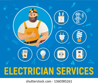 Electrician Service Handyman Character Banner. Workman Cartoon Character in Overall Uniform and Cap Showing Thumbs Up Sign. Electrical Equipment around. Flat Cartoon Vector Illustration