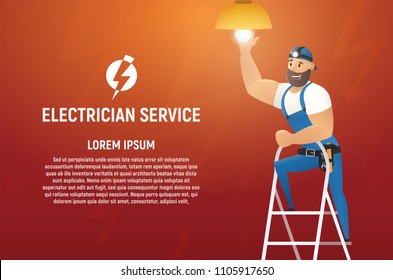 Electrician Service Vector Concept or Banner with Header and Sample Text. Smiling Workman Character in Overall Uniform and Cap, with Tools, Climbing on Ladder and Installing Lamp Cartoon Illustration