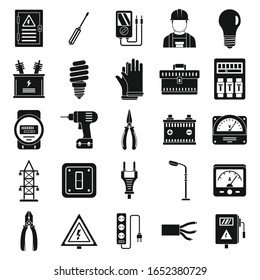 Electrician service worker icons set. Simple set of electrician service worker vector icons for web design on white background