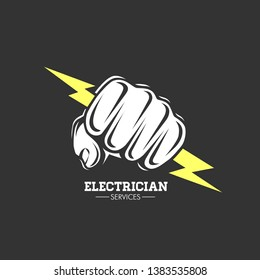 Electrician services Hand holding a lighting Bolt.