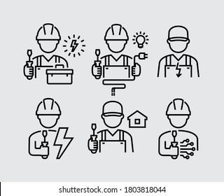 Ingenieur für Elektrotechnik Avatar-Vektorgrafik-Symbole
