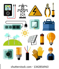 Electrician tools electricity power and energy generation equipment and solar batteries vector voltmeter and pliers screwdriver and socket switch and charger light bulb and rubber gloves windmills
