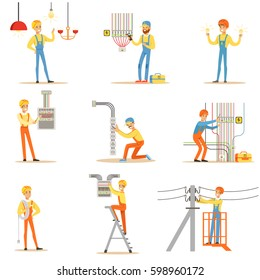 Electrician In Uniform And Hard Hat Working With Electric Cables And Wires, Fixing Electricity Problems Indoors And Outdoors Collection Of Illustrations