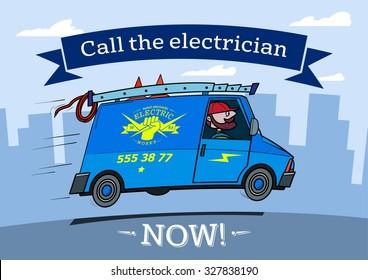 Electrician van cartoon picture.