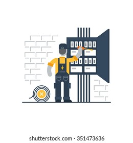 Electrician at work, electric services, electricity and internet connection vector flat illustration