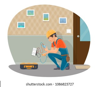 Electrician at work repairing home electricity socket with electrical work tools. Vector flat design of electrician man profession fixing wires in electric socket or light switcher in room