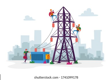 Electrician Workers Characters with Tools, Equipment Electric Transmission Tower Maintenance. Energy Station Powerline in City. Telephone or Electricity Line Poles. Cartoon People Vector Illustration