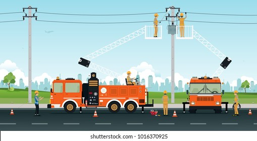 Electrician works on a basket crane with a city backdrop.
