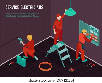 Electricians home office construction renovation maintenance service isometric composition with workmen team installing switch board vector illustration