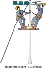 Electricians repairing a high voltage electrical wire on a pole with insulators