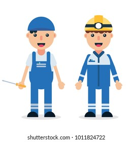 Electrician/Technician/mechanic man professional workers in safety helmet and uniform. Flat style, isolated vector illustration cartoon character