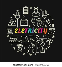 electricity colorful gradient with line icons set, vector editable stroke