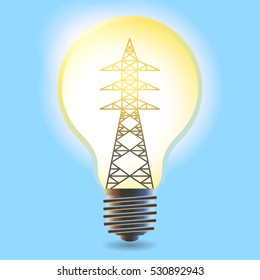electricity concept, power transmission tower in electric light bulb, vector illustration