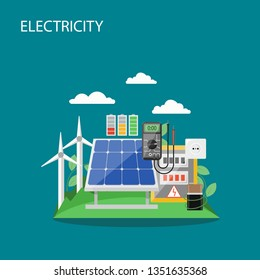 Electricity concept vector flat style design illustration. Windmills, solar panels, battery etc. Alternative renewable energy production and consumption composition for web banner, website page etc.