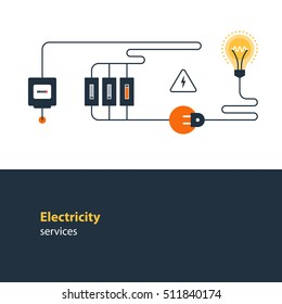 Electricity connection, electrical services and supply, energy saving. Flat design vector illustration. Electricity graphic elements