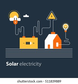Electricity connection, solar electrical supply, energy saving. Flat design vector illustration. Electricity graphic elements