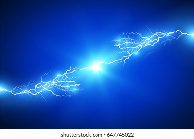 Electricity discharge. Vector illustration. Blue background.