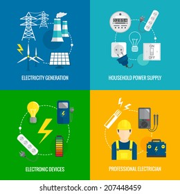 Electricity energy concept flat business icons set of household power professional electrician for infographics design web elements vector illustration