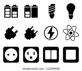 Electricity and energy icon set. Vector illustration.