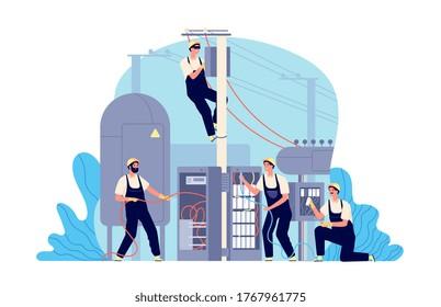 Electricity energy maintenance. Technician electric work, generator transformer service engineer. Man repairs box power vector illustration