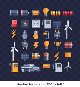 Electricity energy symbols pixel art icons ources of clean renewable sun energy charging stations and windmills. Electrical bulb and lamp. Low battery and full charge, plug. Design logo and app. 8-bit